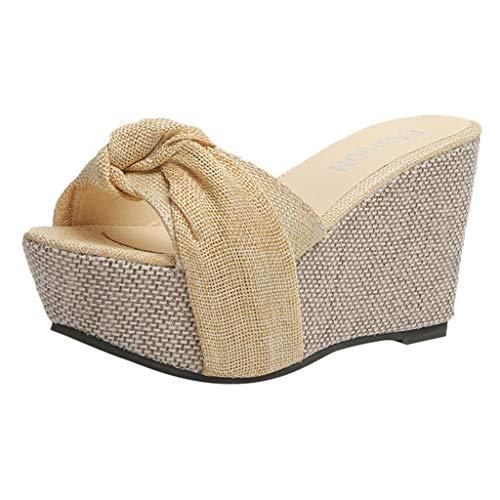 Plateau Sandals for Women, Huazi2 Ladies Wedge Summer Slip On High Heel Platform Peep Toe Shoes Slipper Yellow]()