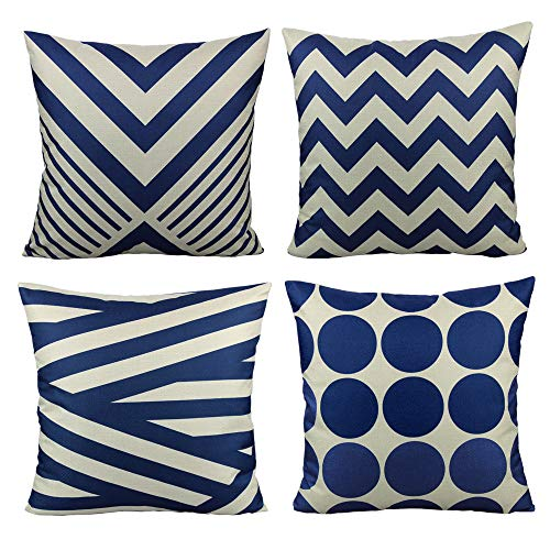 All Smiles Navy Blue Outdoor Patio Throw Pillow Covers Cases Decorative for Couch Sofa Furniture Home Decor Geometric Accent Cushion Square 18×18 Set of 4 (Pillow Outdoor Stripe Navy)