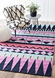 nuLOOM Geometric Southwestern Tribal Wool Flat Woven Area Rugs, 2′ x 3′, Multicolor