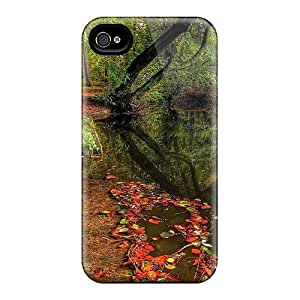 For LisaMichelle Iphone Protective Case, High Quality For Iphone 4/4s Foliage In The Water Skin Case Cover by supermalls