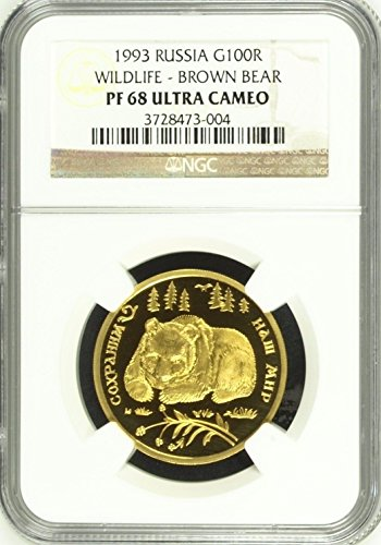 1993 RU 1993 Russia Proof 1/2 Oz Gold Coin 100 Roubles Br coin PF 68 Ultra Cameo NGC