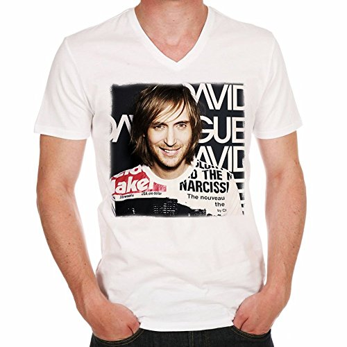 David Guetta H Men's T-shirt picture celebrity - White, XXXL