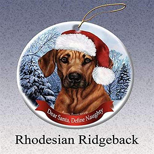 Cheyan Rhodesian Ridgeback Santa Hat Dog Porcelain Christmas Tree Ornament ()