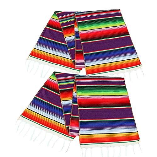 2 Pack Mexican Serape Table Runner 14 x 84 Inch for Mexican Party Wedding Decorations Outdoor Picnics Dining Table, Fringe Cotton Handwoven Table Runners -