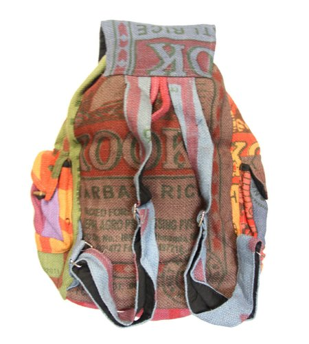 Lungta Recycled Jute Rice Bag Backpack Hand Made Nepal