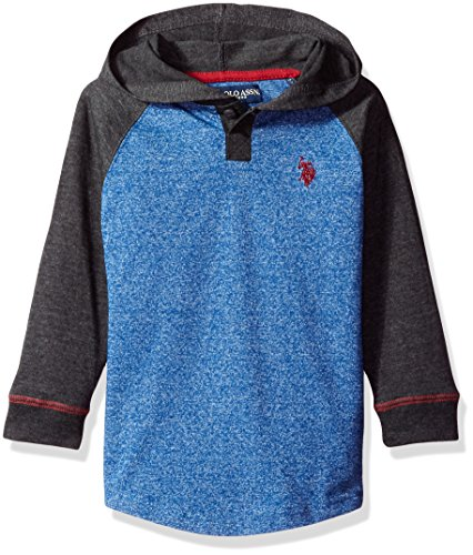 U.S. Polo Assn. Boys' Little Boys' Color Blocked Hooded Henley Pullover, Marled Cobalt Blue with Pocket, 7