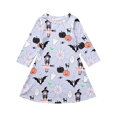 Star_wuvi Dress Girl Baby Girl Ghost Spider Witch Pumkin Print Princess Long Sleeve Dress Halloween Outfits (24M) (Witch Spider Outfit)