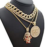 "BLINGFACTORY Hip Hop Tekashi69 Saw 69 Pendant & 18"" 24"" Full Iced Cuban Choker Chain Necklace"