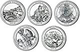 Complete Set of 2012 National Park Quarters from the Denver (D) Mint. This National Park Quarter Set contains one of each National Park Quarter released in 2012 from the Denver (D) Mint in Brilliant Uncirculated (BU) Condition. This National Park Qua...