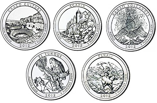 2012 P Complete Set of 5 National Park Quarters Uncirculated