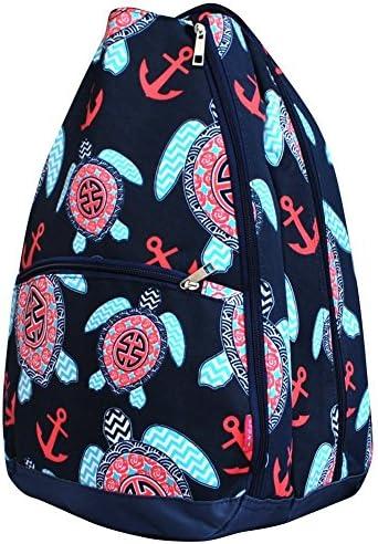 N.Gil Sea Turtle Anchor Print NGIL Tennis Racquet Holder Backpack