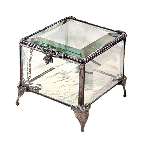 J Devlin Box 326 Beveled Clear Glass Box Decorative Keepsake Gift Jewelry Display Chest Trinket Box Vintage Beveled Glass