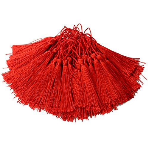 100pcs 13cm/5 Inch Silky Floss Bookmark Tassels with 2-Inch Cord Loop and Small Chinese Knot for Jewelry Making, Souvenir, Bookmarks, DIY Craft Accessory (Red)