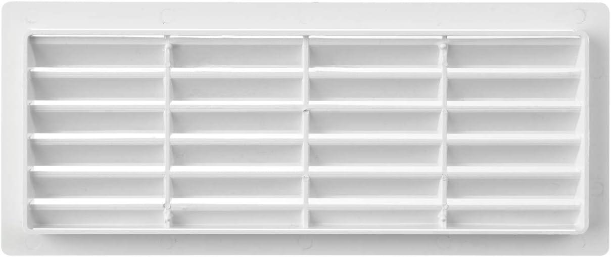 La Ventilazione P252510B Grille de ventilation rectangulaire en plastique blanc /à encastrer 254 x 108 mm. Dimensions
