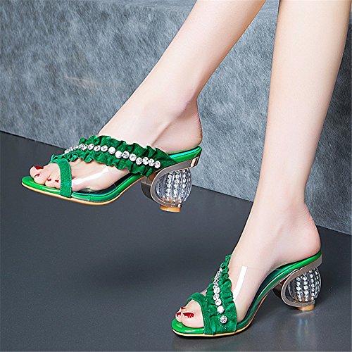 Chaussons Sandales Banquet Mariage de Percer YUCH Sable Green Élégant Femme xp8nwHqAqF