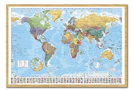 World map poster with country flags beech framed 965 x 66 cms world map poster with country flags beech framed 965 x 66 cms approx 38 gumiabroncs Choice Image