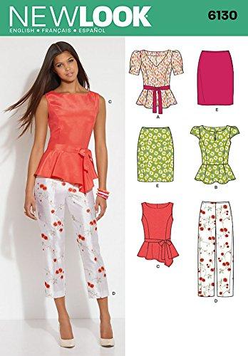 Amazon.com: New Look Ladies Sewing Pattern 6130 Peplum Tops, Skirt ...