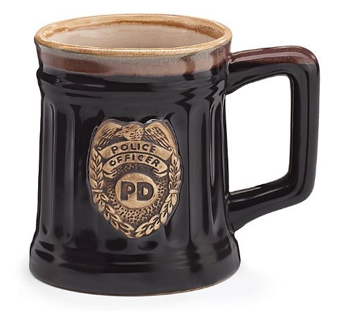 Police Officer Porcelain Coffee Mug with Police Department Crest Stein -