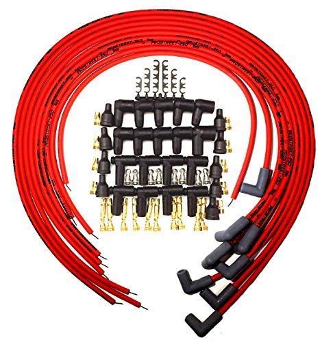 UPP - PROSTREET 250 - Red 8mm Silicone High Performance Racing Universal Spark Plug Wire Set - 250 ohm Wire Wound Core - 90 Degree Boots/Terminals Fits Chevy SBC BBC 283 350 383 400 427 454 ()