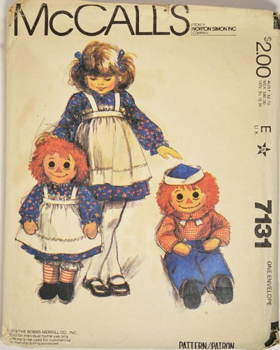 McCall's 7131 - Raggedy Ann & Andy Rag Doll And Children's Apron Vintage Sewing Pattern - (Raggedy Ann And Andy Doll Patterns)