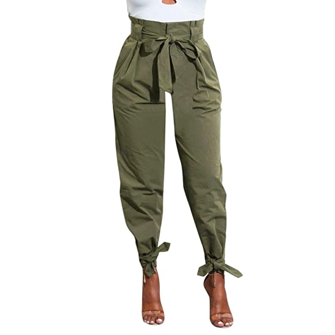46fcfbbad6e Minisoya Women Cargo Pant Slacks Belted High Waist Bowknot Bandage Trousers  Ladies Party Casual Loose Pants