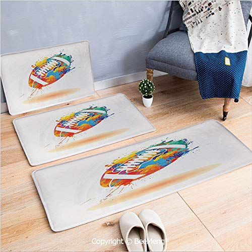 3 Piece Anti-Skid mat for Bathroom Rug Dining Room Home Bedroom,Sports,Rugby Ball with Rainbow Brush Effects Filled Covered with Colors Sports Sign Leisure,Multicolor,16x24/18x53/20x59 inch (Ospreys Home Rugby)