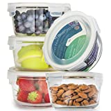 Round Glass Meal Prep Containers - Glass Food Storage Containers with Lids - Glass Tupperware Set Glass - Food Prep Containers Portion Control Meal Prep Container Lunch Containers [5pk,25oz]