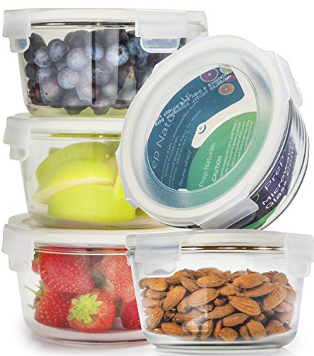 [5-Pack] Glass Meal Prep Containers Glass Round - Glass Food Storage Containers - Glass Storage Containers With Lids - Glass Lunch Containers Food Container - Glass Food Containers, 25oz - Edge Round Bowl