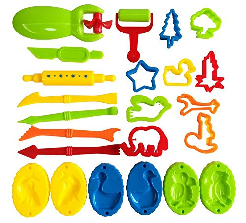 Set of 23pcs Color Play Dough Tools Kits with Models and Molds Kid Toys Creative 3D Plasticine Playdough Set
