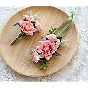 Prettybuy Wedding Boutonniere and Wrist Corsage Bridegroom Groom Men's Boutonniere with Pin for Wedding, Prom, Homecoming Pack of 2 25