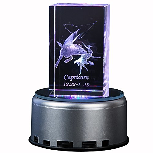 IFOLAINA 3d Laser Crystal Cube Gift Subsurface Engraved 12 Constellations Capricorn with Mp3 Rotary LED Plastic Music Box Multicolor