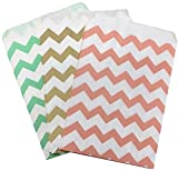 Outside the Box Papers Gold, Peach and Mint Chevron Treat Sacks 5.5 x 7.5 48 Pack Mint Green,Gold,Peach, White