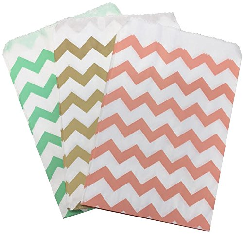 Outside the Box Papers Gold, Peach and Mint Chevron Treat Sacks 5.5 x 7.5 48 Pack Mint Green,Gold,Peach, -
