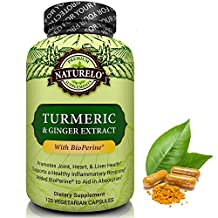 NATURELO Organic Turmeric Powder with Ginger Extract - Added BioPerine for Better Absorption - Best Anti Inflammatory Curcumin Supplement for Joint Pain Relief & Rheumatoid Arthritis - 120 Capsules