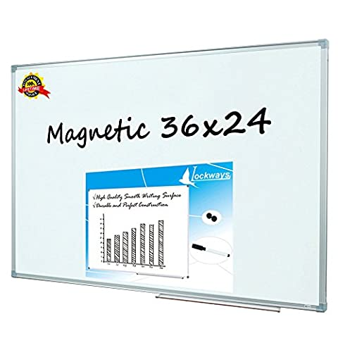 Lockways Magnetic Dry Erase Board - Magnetic Whiteboard 36 x 24 Inch, 3 x 2 Silver Aluminium Frame (SET Including 1 Aluminum Pentray & 1 Dry Erase Markers & 2 Magnets) for School, Home & (Chalkboard 2 X 3)