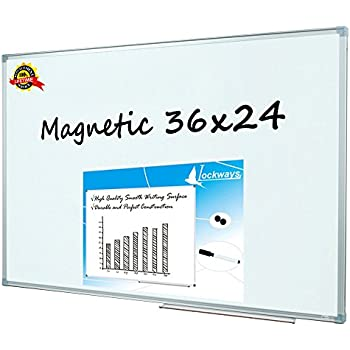 Lockways Magnetic Dry Erase Board - Magnetic Whiteboard 36 x 24 Inch, 3 x 2 Silver Aluminium Frame (SET Including 1 Aluminum Pentray & 1 Dry Erase Markers & 2 Magnets) for School, Home & Office