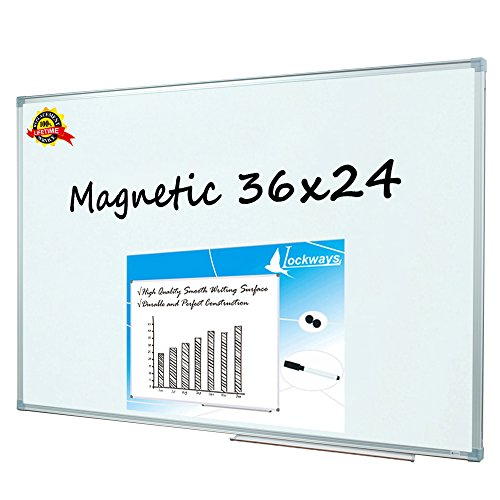 Lockways Magnetic Dry Erase Board - Magnetic Whiteboard / White Board 36 x 24 Inch, 3 x 2 Silver Aluminium Frame, 1 Aluminum Marker tray, 1 Dry Erase Markers, 2 Magnets for School, Home, Office (Great 1 Tray)