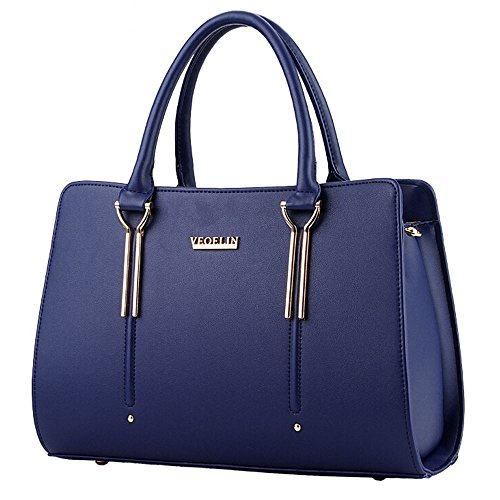 Shoulder Shopper Tote Women's Designer Large Faux Blue Handbags Leather Sine90 Bag Ladies zw1q6Uw