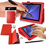 SONY XPERIA Z2 Tablet Case - RED PropUp Stand Case - Cover with Magnetic Lid & AUTO STANDBY FUNCTION (for Instant SLEEP / WAKE Functionality) Designed by G-HUB® exclusively for Sony XPERIA TABLET Z2 - Fits All Versions (Including Models SGP541 / SGP521 / SGP551 / 16GB / 32GB / 64GB / 2G / 3G / 4G / LTE Version / WiFi Model / etc.) THIS PACKAGE INCLUDES BONUS: G-HUB ProPen Stylus