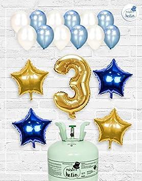 Bombona de Helio Mrhelio+Globos cumpleaños Niño números (Cumple 3 años niño)