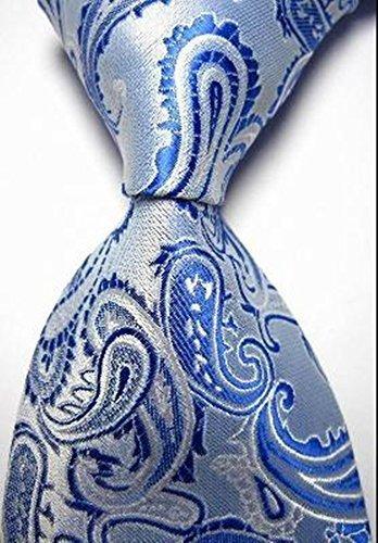 Pisces.goods New Bright Blue Paisley Jacquard Woven Men's Tie Necktie