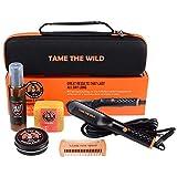Tame's Easy Glide Beard Straightener Essentials Kit - Anti Scald Beard Straightening Comb - With Heat Spray - Beard Soap - Beard Balm - Detangle Comb - Storage Case.