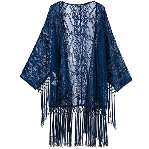 Women Flowy Sheer Crop Sleeves Loose Sunscreen Kimono