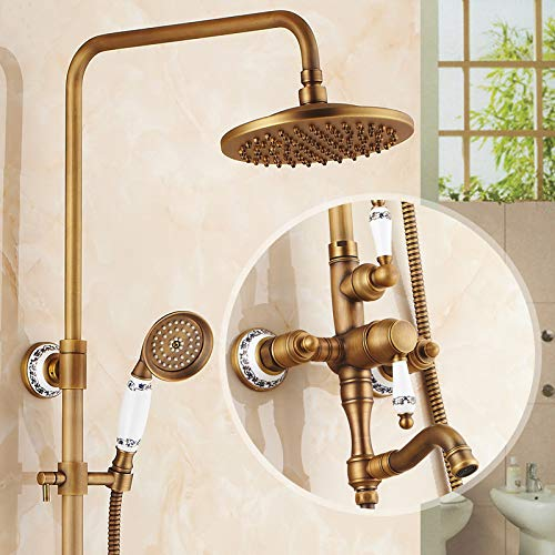 E Hlluya Professional Sink Mixer Tap Kitchen Faucet Antique faucets shower kit full copper Bathroom Wall Mounted showers, hot and cold shower faucet shower,F