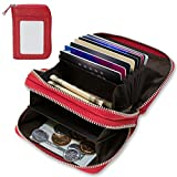 RFID Blocking Leather Wallet, Latest Credit Card Safe RFID Block Security Travel Wallets/Holder/Case/Protector (Dark Red)