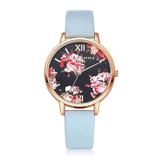 ¡Promoción Mujeres Relojes de Flores Liquidación Relojes para Mujeres  Relojes Femeninos a la Venta Relojes de Pulsera de Cuero (Cielo Azul)   Amazon.es  ... 23001346e6a7