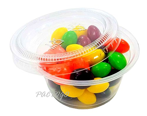 Empress 2 oz. Clear Plastic Disposable Portion Souffle Container Food Cups with Lids (Pack of 100 Sets)