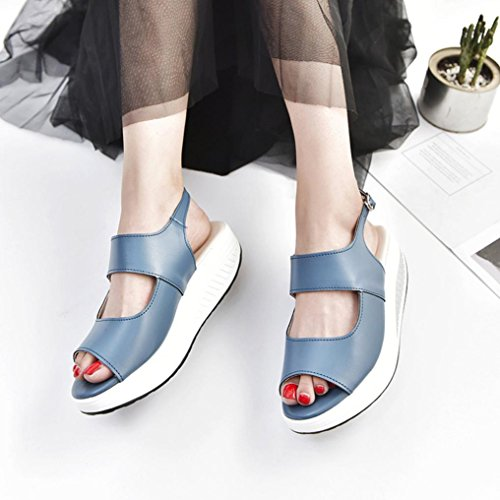 Lightweight Bottom Clearance Running Wedge Summer Sport HARRYSTORE HIGT Women Outdoor Sandals Gym Girls Blue Heel Hiking Walking Shoes Platform Sneakers Thick Trainers Shoes HqPxHFzw