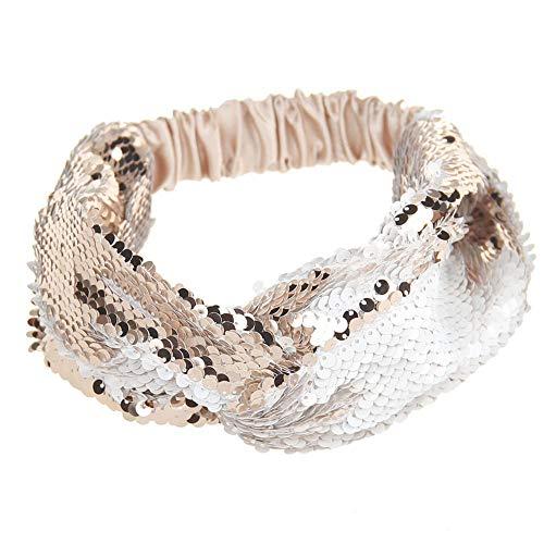 UROSA Women Yoga Headbands Sequins Run Head Wrap Wide Hair Accessories Silver]()