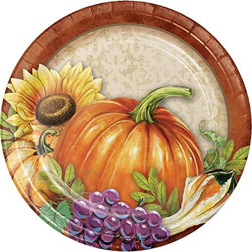 96 Pumpkin and Sunflower Bountiful Thanksgiving Paper Luncheon Plate 6.75